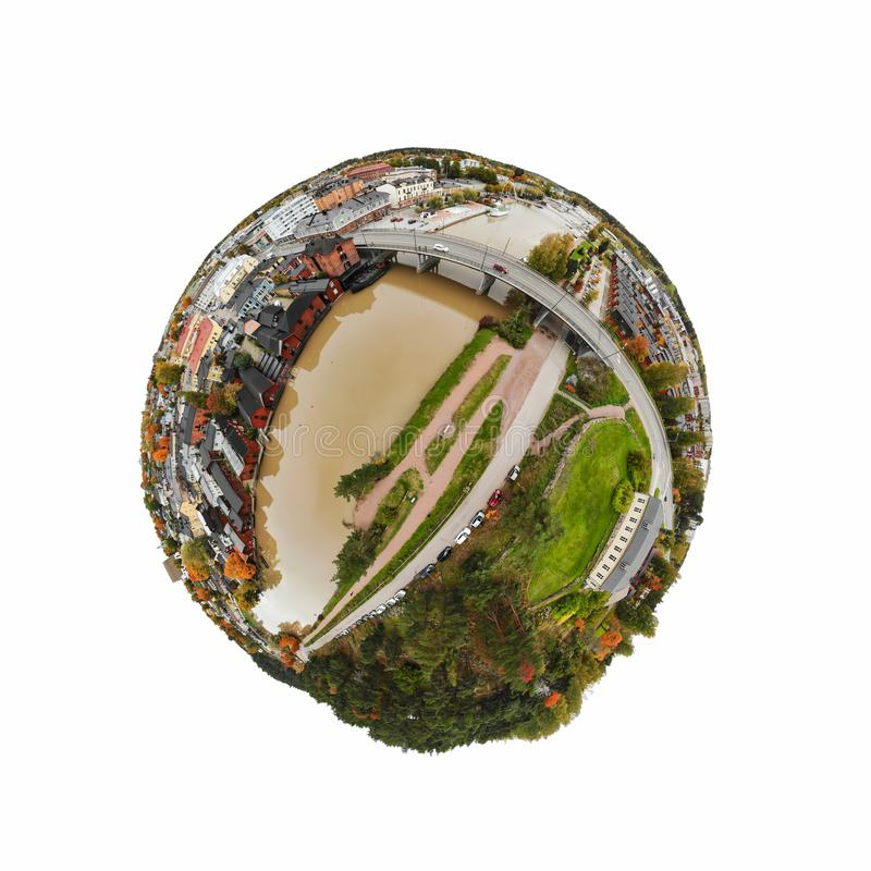 A three dimensional panoramic aerial view of the Old town of Porvoo, Finland in a mini planet panorama style.  stock image