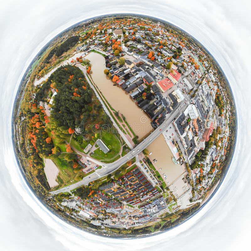 A three dimensional panoramic aerial view of the Old town of Porvoo, Finland in a mini planet panorama style.  stock photo