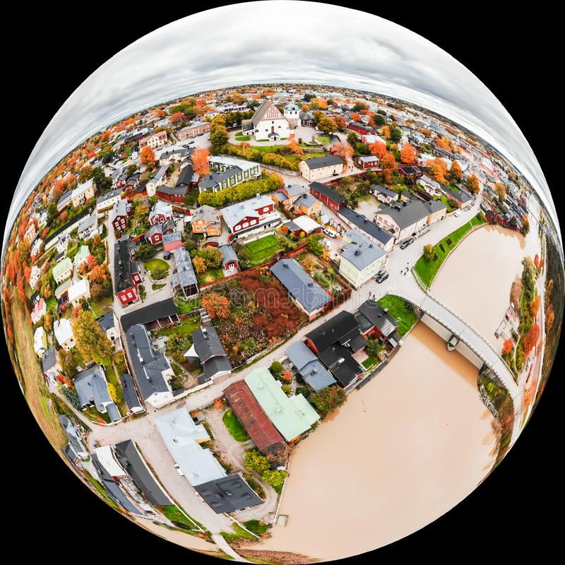 A three dimensional panoramic aerial view of the Old town of Porvoo, Finland in a mini planet panorama style.  stock photography