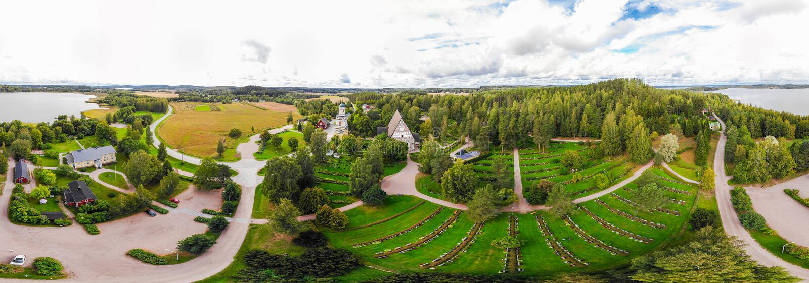 A three dimensional panoramic view of the medieval greystone Church of St. Mary in Hollola, Finland.  royalty free stock images