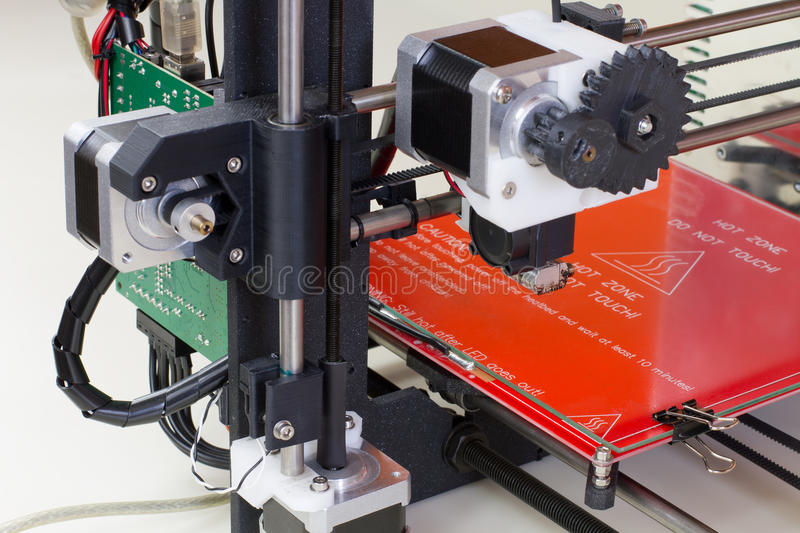 Three dimensional printer. Detail of a 3D printer ready royalty free stock photography