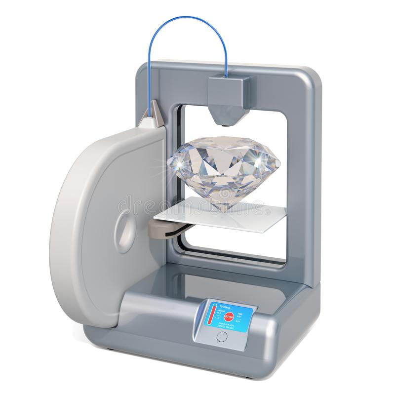 Three dimensional printer with diamond,  3D rendering. Isolated on white background stock illustration