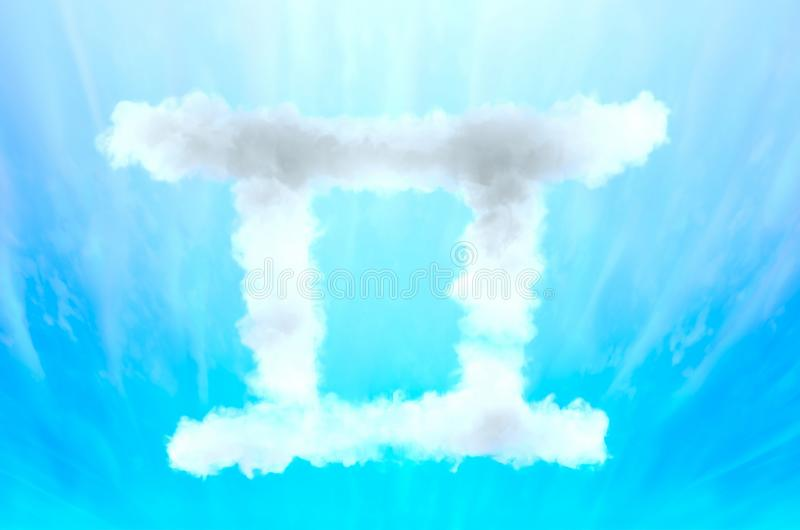 Astrology symbol in cloud material - Gemini. Three dimensional rendered illustration of unique model royalty free stock images