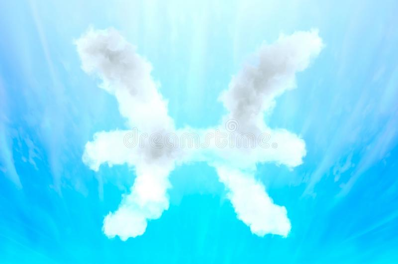 Astrology symbol in cloud material - Pisces. Three dimensional rendered illustration of unique model royalty free stock photos