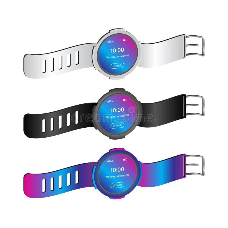 Three dimensional Smart watches design vector illustration