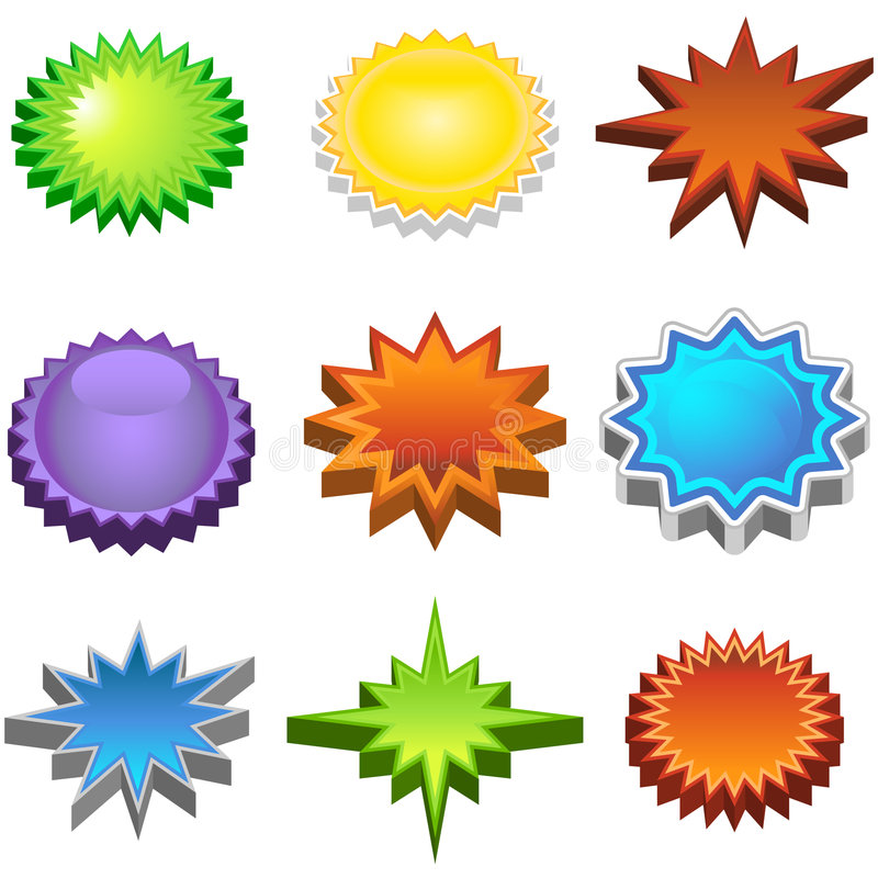 Free Three Dimensional Starburst Stickers Stock Photos - 9265313
