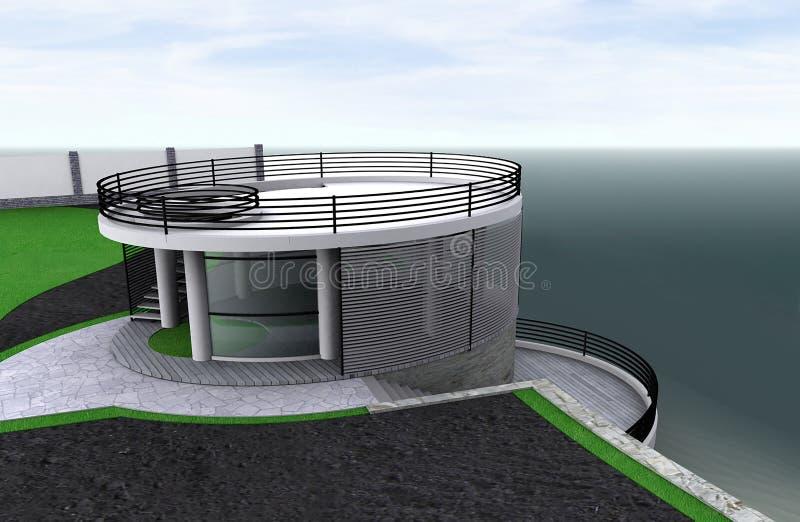 Minimalist style alcove overlook the sea, 3D render. Three-dimensional visualization of modern gazebo overlook the sea royalty free illustration