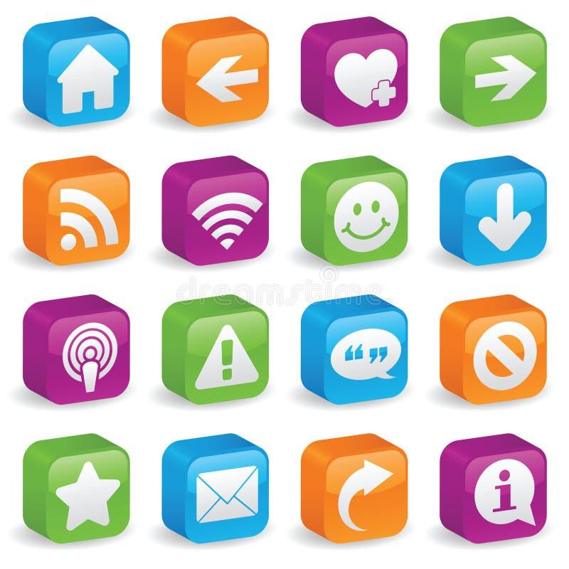 Three-Dimensional Web Symbols. Various web icons and symbols on brightly colored, three-dimensional square buttons royalty free illustration