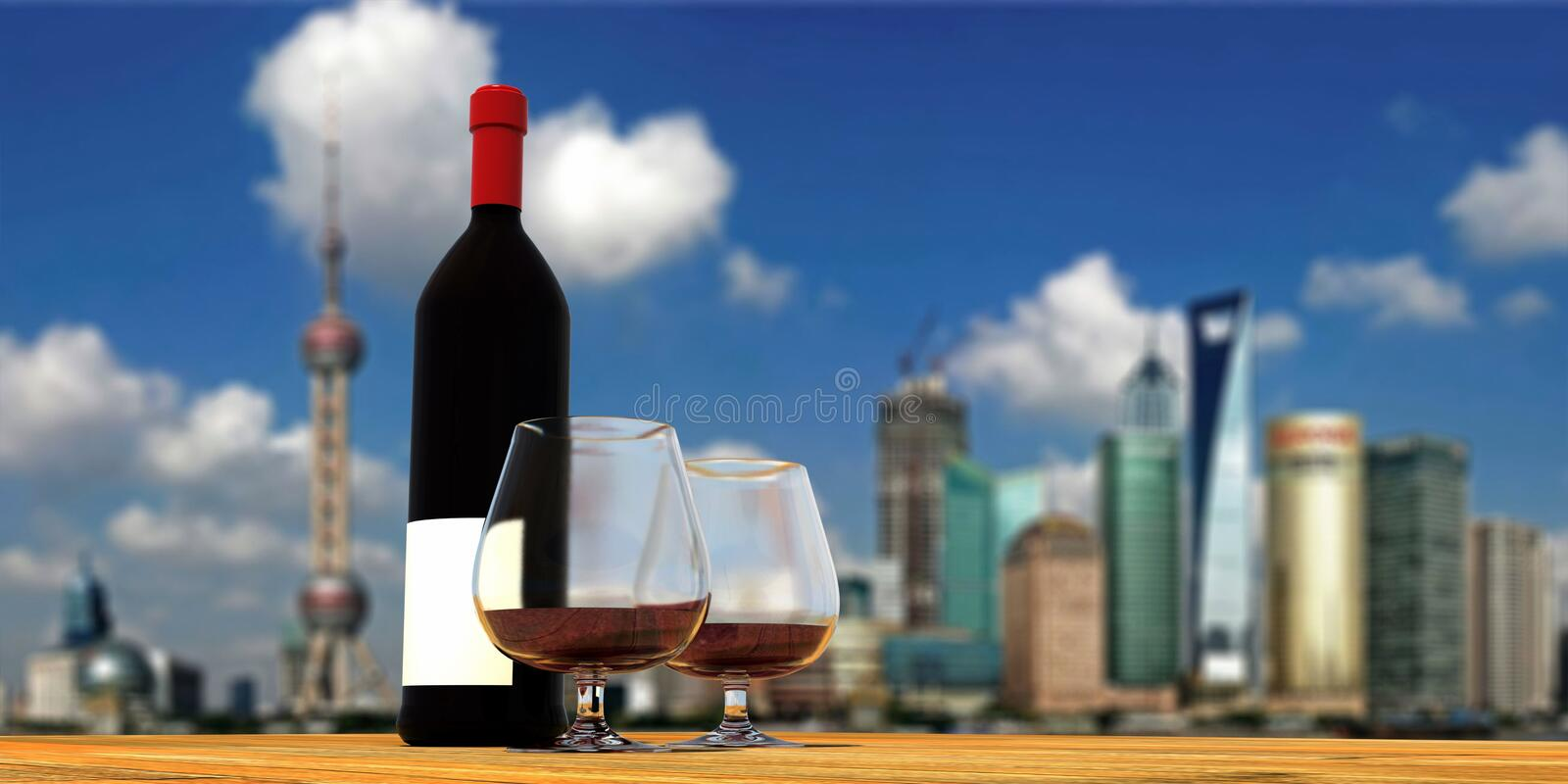 Download Three-dimensional Wine Bottle And Wine Glass Stock Illustration - Illustration of huangpu, shanghai: 14928042