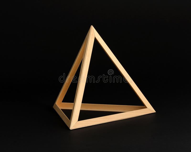 Three Dimensional Wooden Triangle Frame Stock Image - Image of black ...