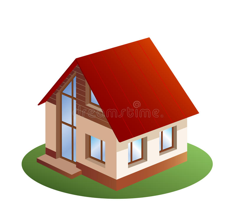 three dimensions family house stock illustration