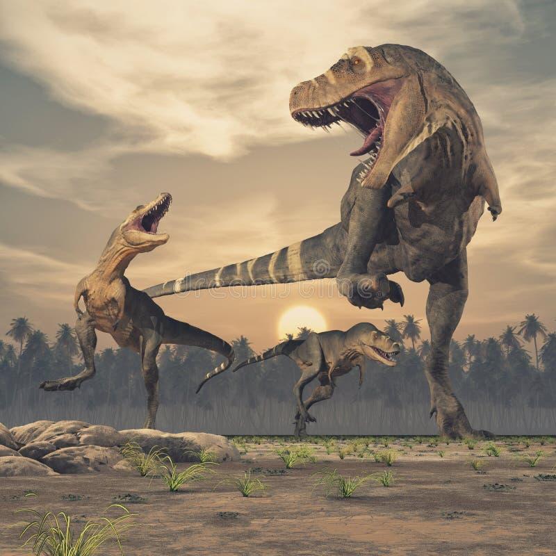 Three dinosaurs - tyrannosaurus rex. This is a 3d render illustration vector illustration