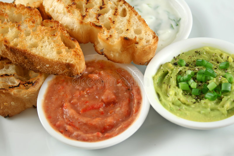 Three Dips And Turkish Bread royalty free stock image