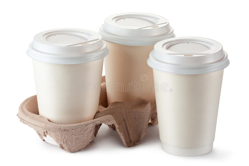 Three disposable coffee cups with plastic lid royalty free stock photo