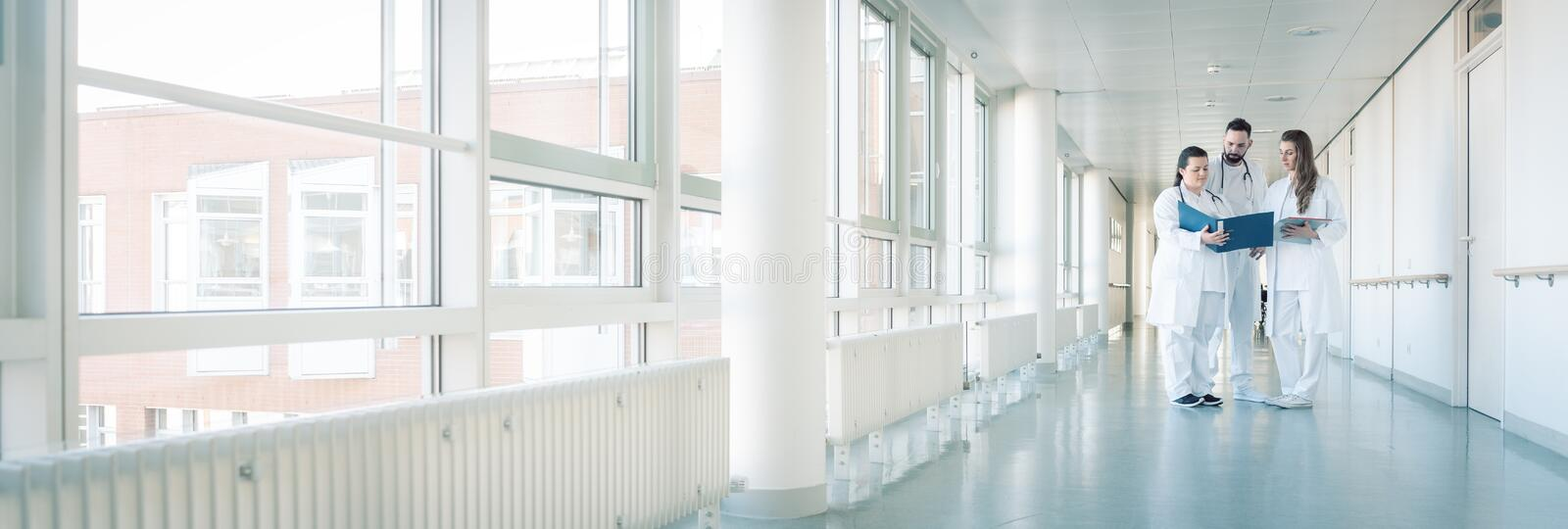 Three doctors on hospital corridor having short meeting. Discussing some cases royalty free stock photo