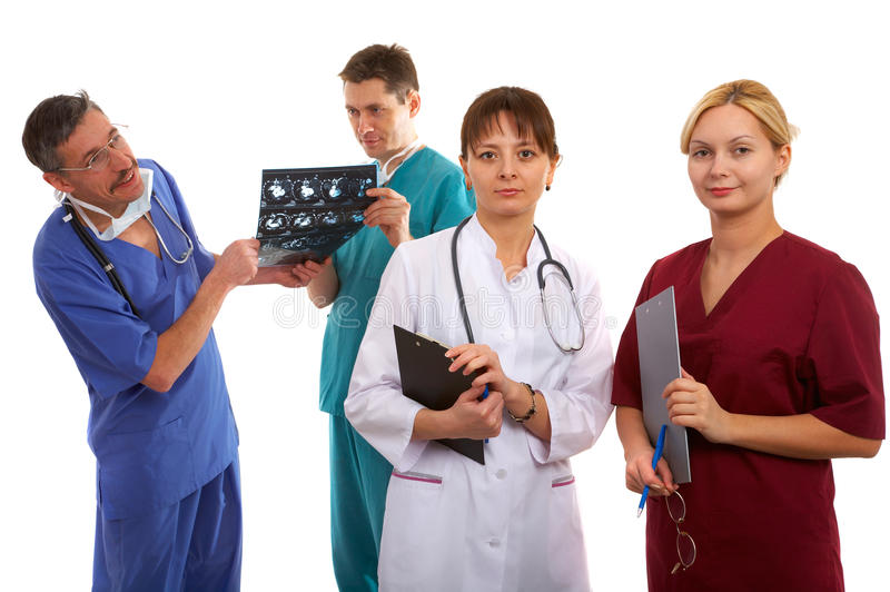 Three doctors and nurse royalty free stock photos