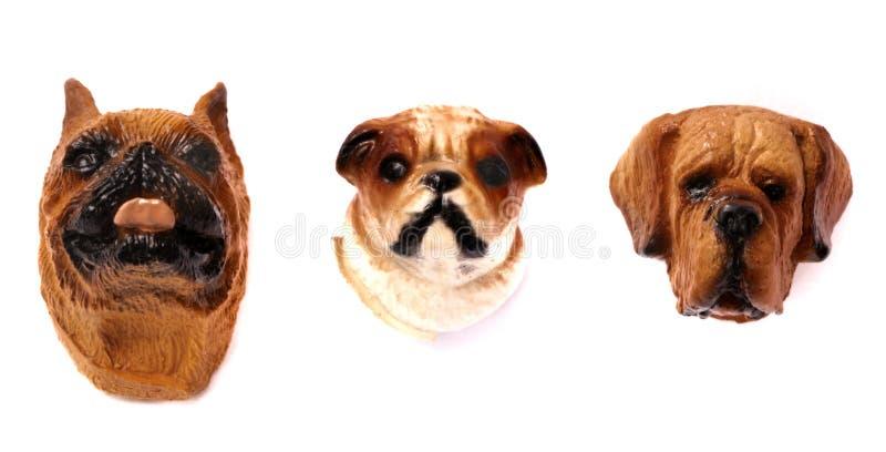 Three dog head refrigerator magnets stock photography