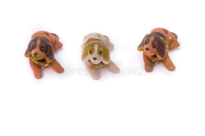 Three Dog Plush toy for children. Boy or girlie on white background stock image