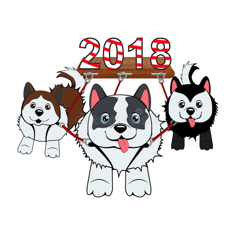 Three dogs run in harness and carry the symbol of the year in the sled. stock illustration