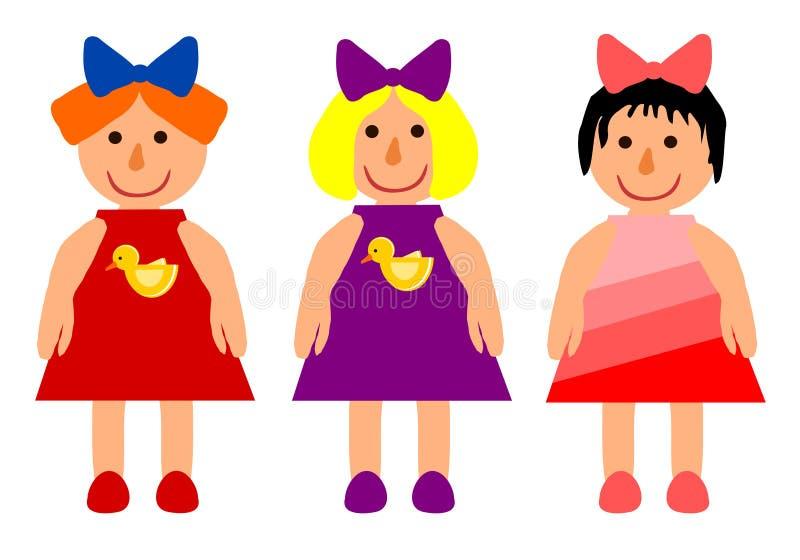 Three dolls vector illustration