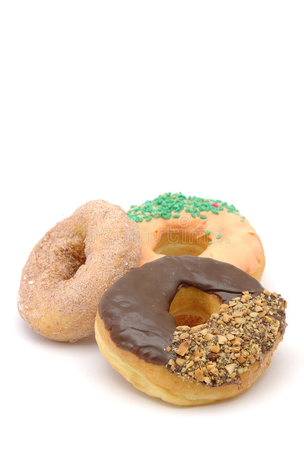 Three donuts with copy space stock photo