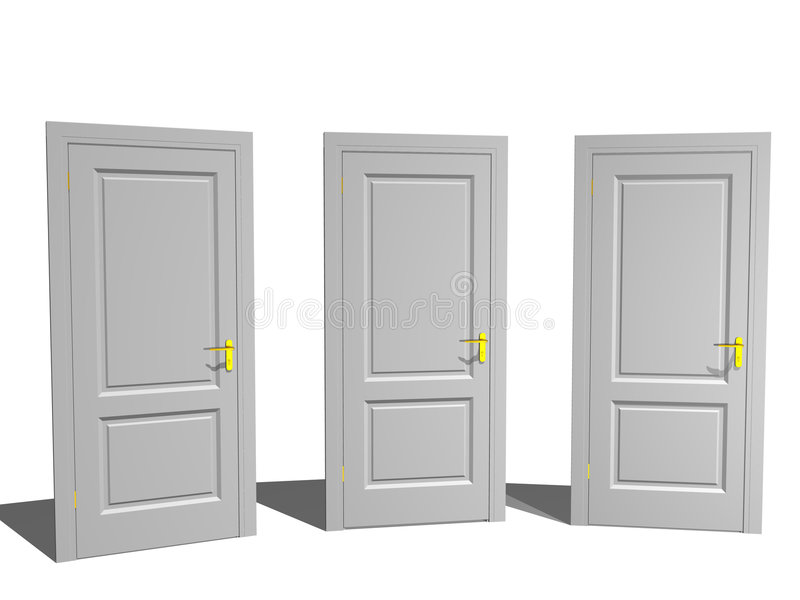 Three Doors vector illustration
