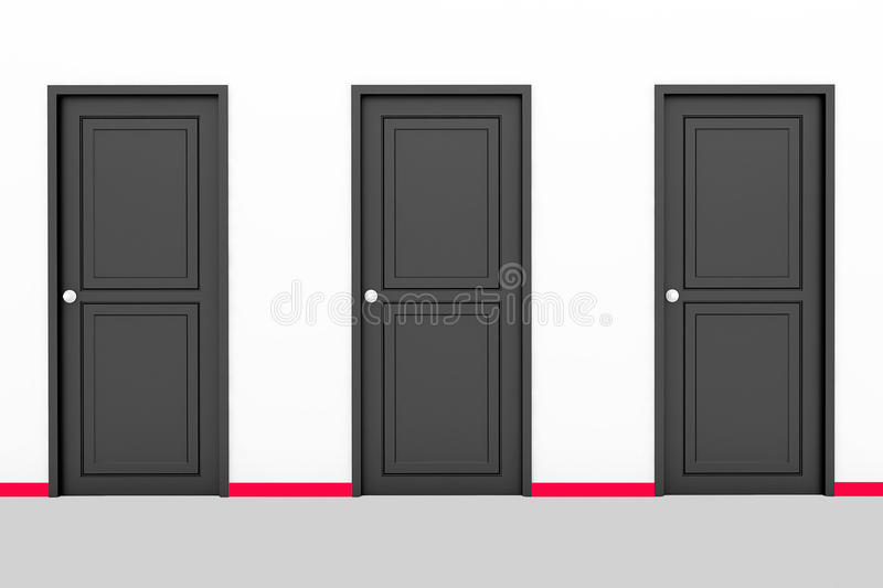 Three doors stock photo