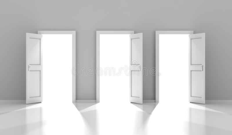 Three doors with copyspace, 3d render royalty free illustration