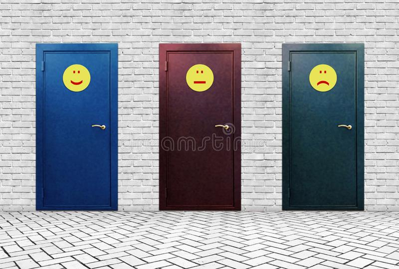 Three doors of three emoticons Positive Negative and Indifferent stock photos
