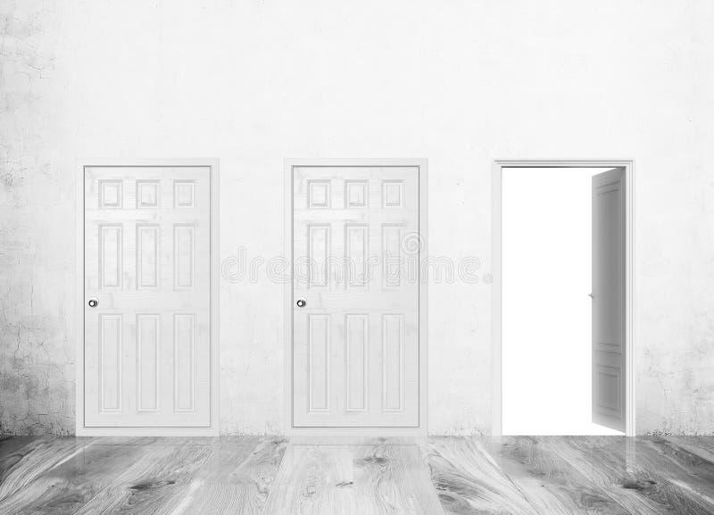 Download Three doors. One open stock illustration. Illustration of empty - 76061863  sc 1 st  Dreamstime.com & Three doors. One open stock illustration. Illustration of empty ...