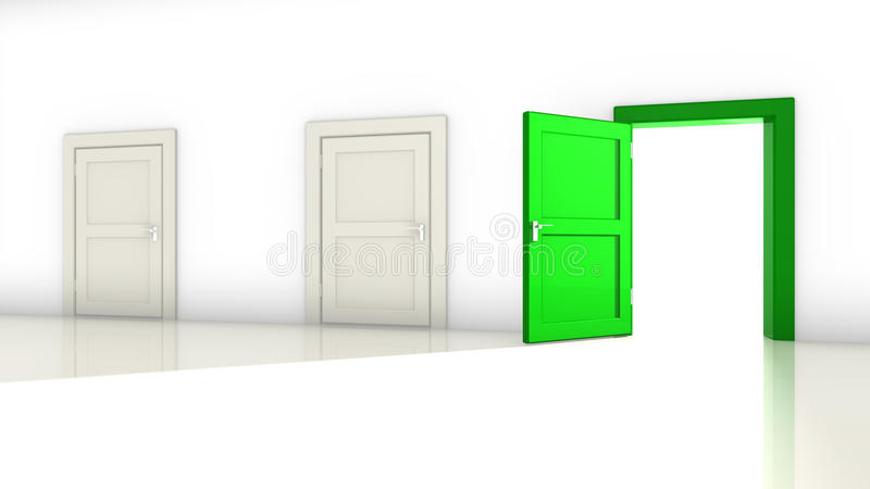 Three doors in a room vector illustration