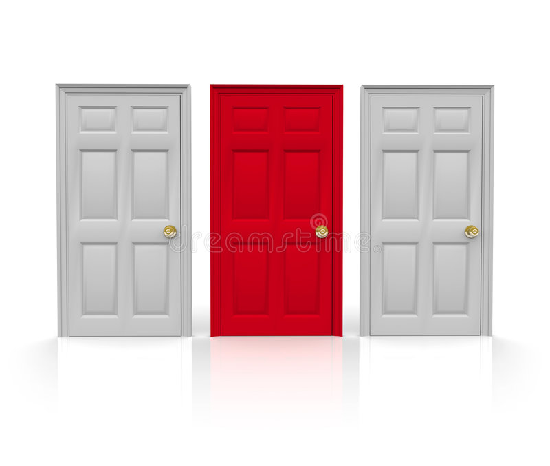 Three Doors - Which to Choose. Three doors stand before you... do you pick the red one in the middle royalty free illustration