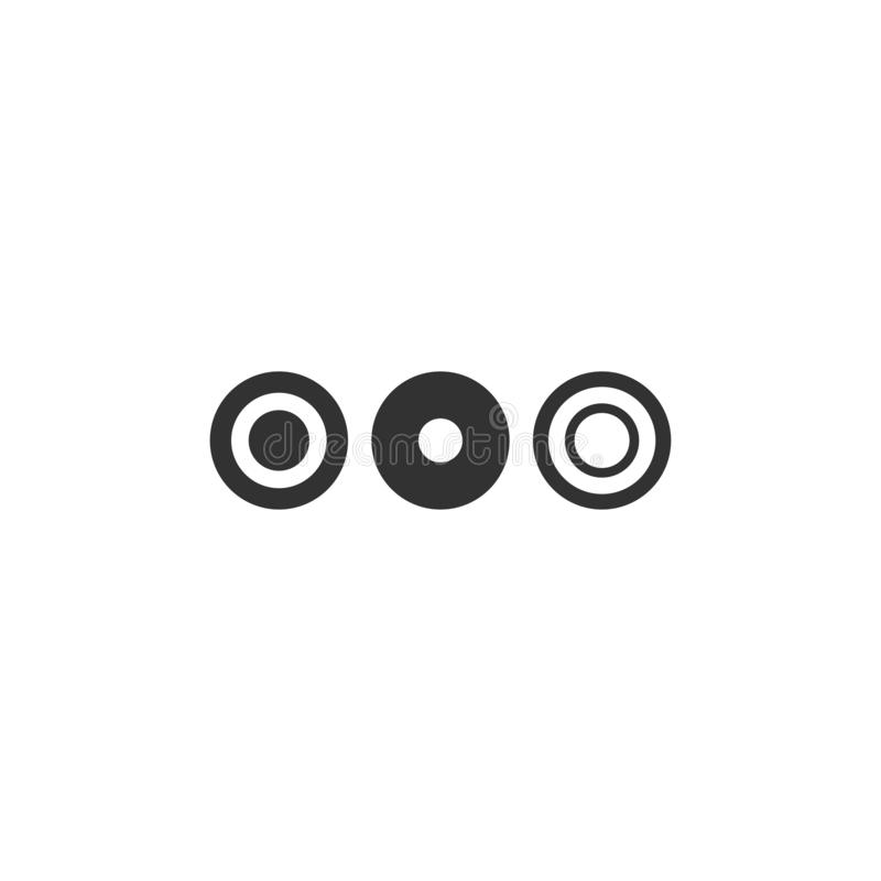 Three dots or marks of omission. Black flat icon of message or quote bubble. Isolated on white vector illustration