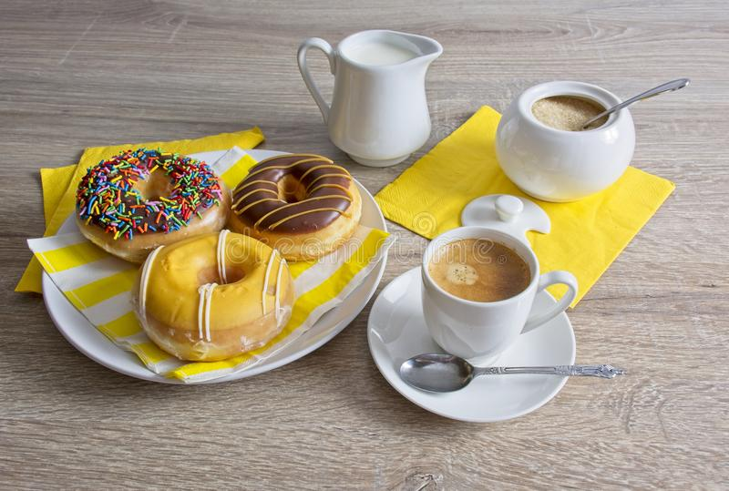 Coffee Break and doughnuts royalty free stock photography