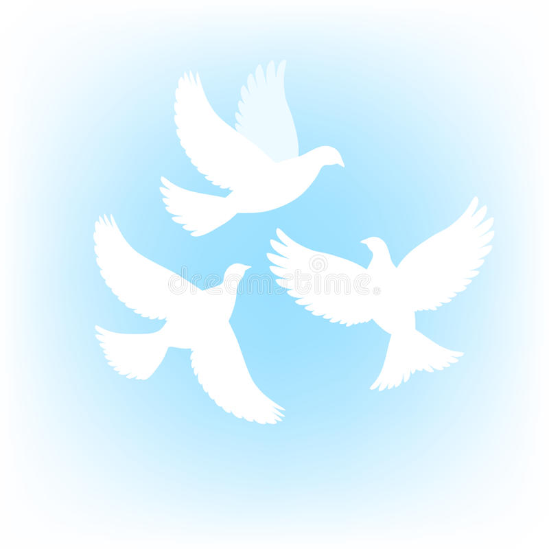 Download Three dove stock vector. Image of blue, silhouette, background - 25743043