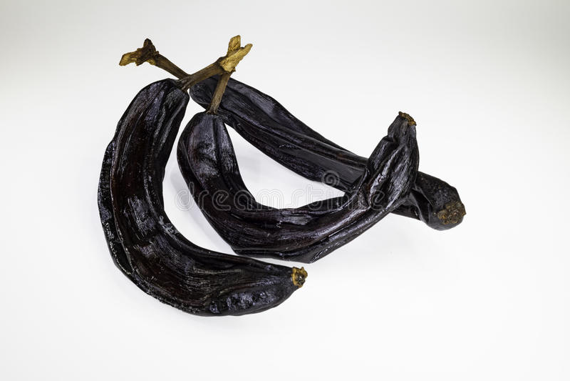 Three dried bananas stock image