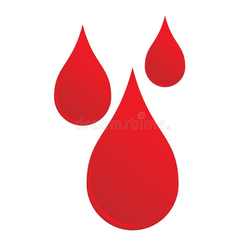 Three drops liquid of red blood shape sign. Vector illustration flat icon of medical health tests and blood sampling royalty free illustration