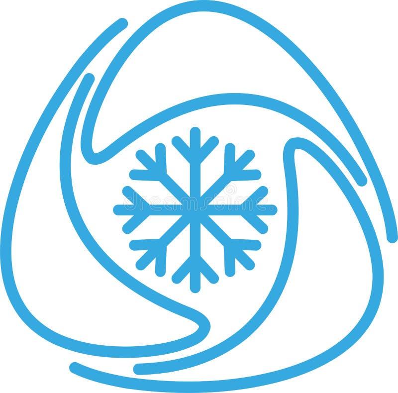 Three drops with snowflake logo, snowflake drop, thermometer logo, air conditioning logo, ventilation logo, air logo stock illustration