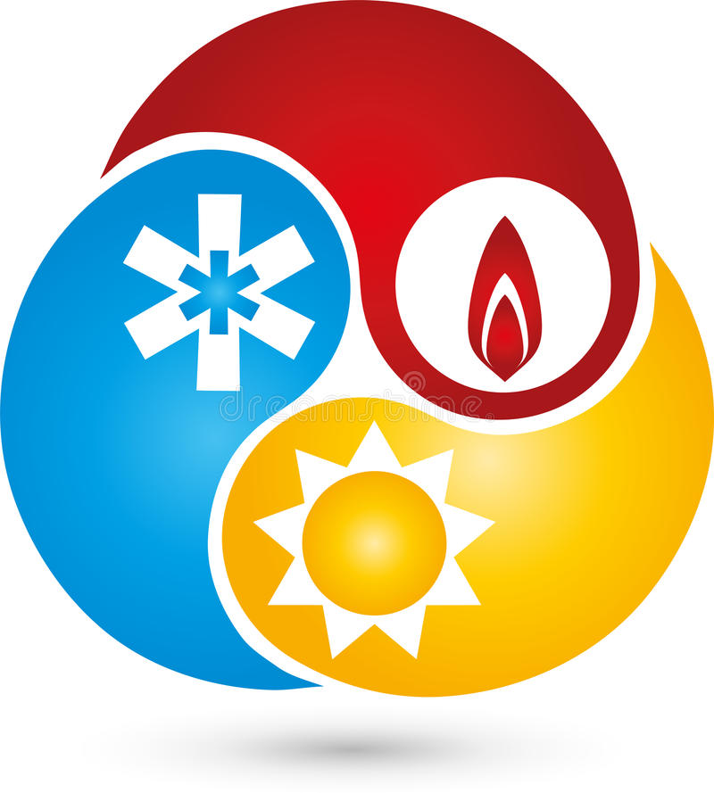 Three drops with water, snow and sun, air conditioning and plumbing logo royalty free illustration