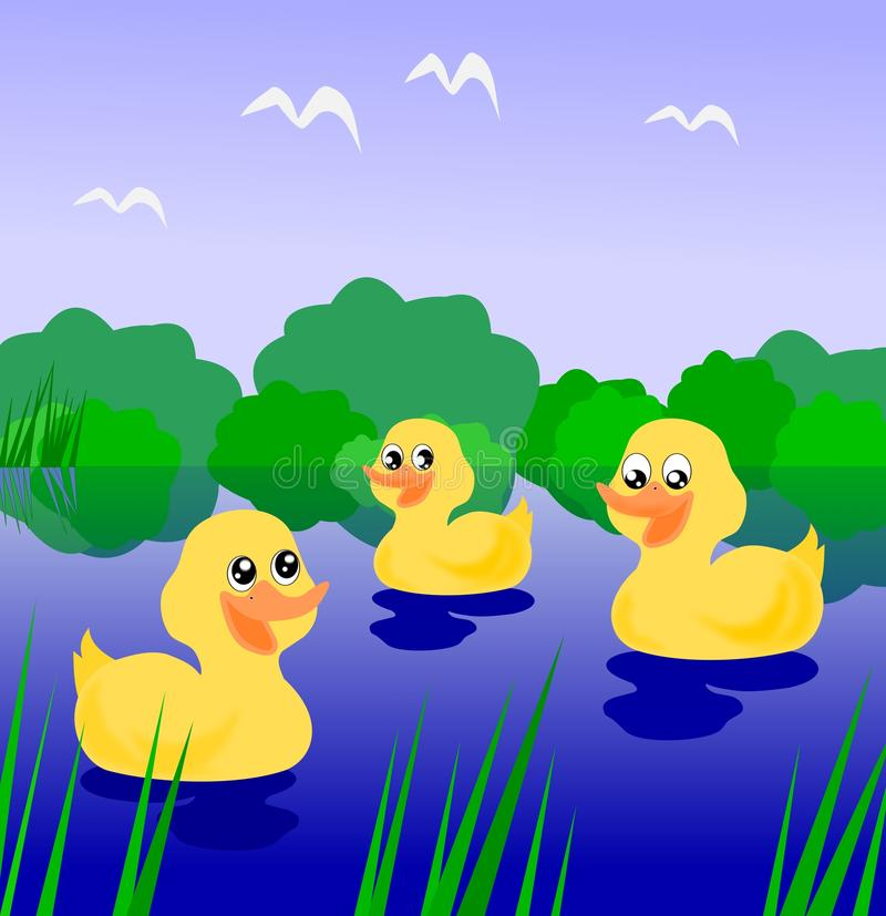 Download Three Ducklings stock illustration. Image of duckling - 22041319