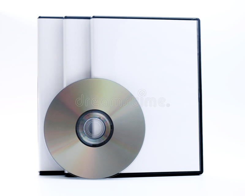 Three DVD Cases. On a white background royalty free stock photos