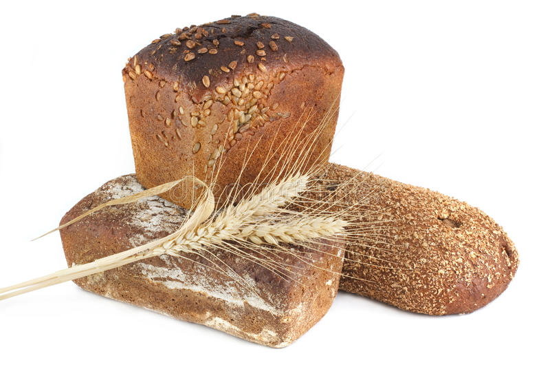 Three ears of corn bread royalty free stock photo