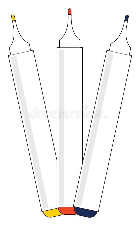 Markers for whiteboard/Sketch drawing of three board markers left opened without a cap, vector or color illustration royalty free illustration