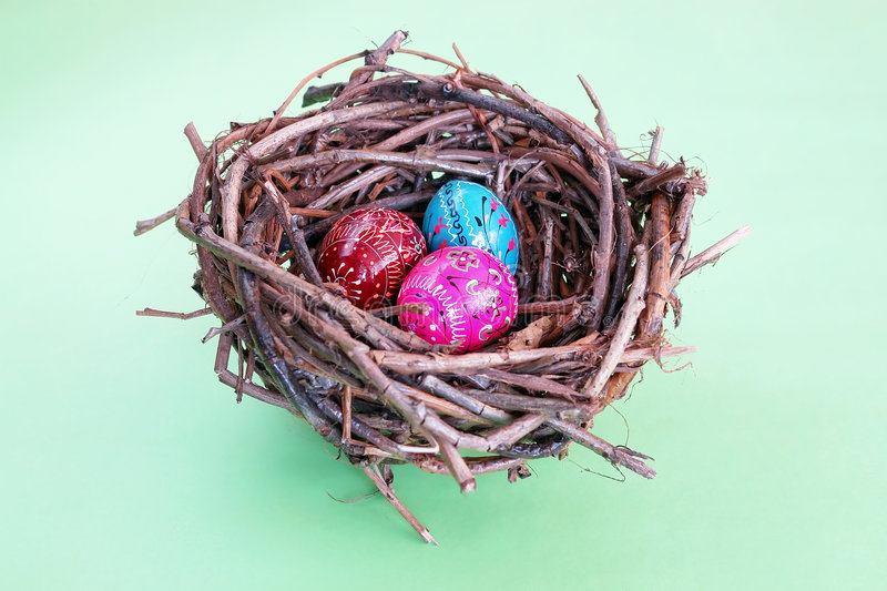 Download Three Easter Eggs In Nest Royalty Free Stock Photography - Image: 1802147