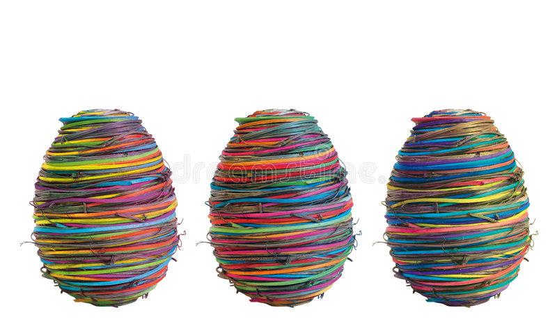 Three easter-eggs on white royalty free stock images