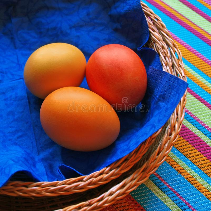 Download Three Eggs In The Baskets On Striped Fabric Stock Image - Image: 2017201
