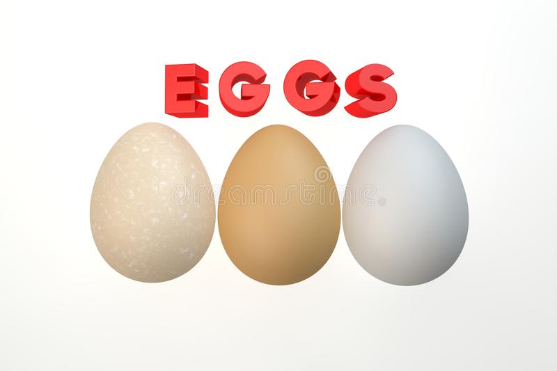 Three eggs isolated on the white stock photos
