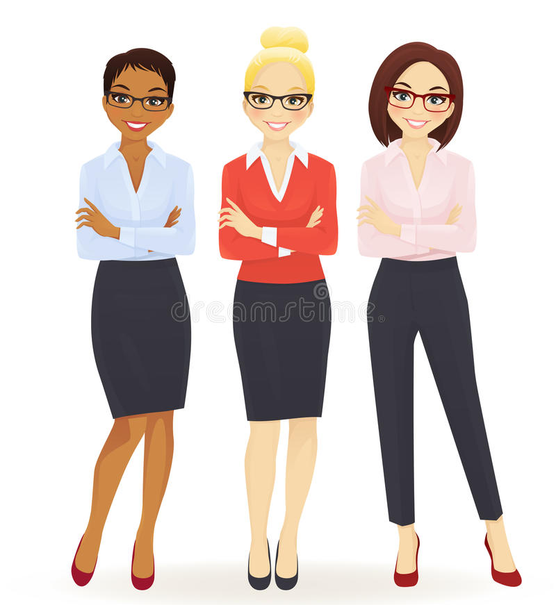 Three elegant business women royalty free illustration