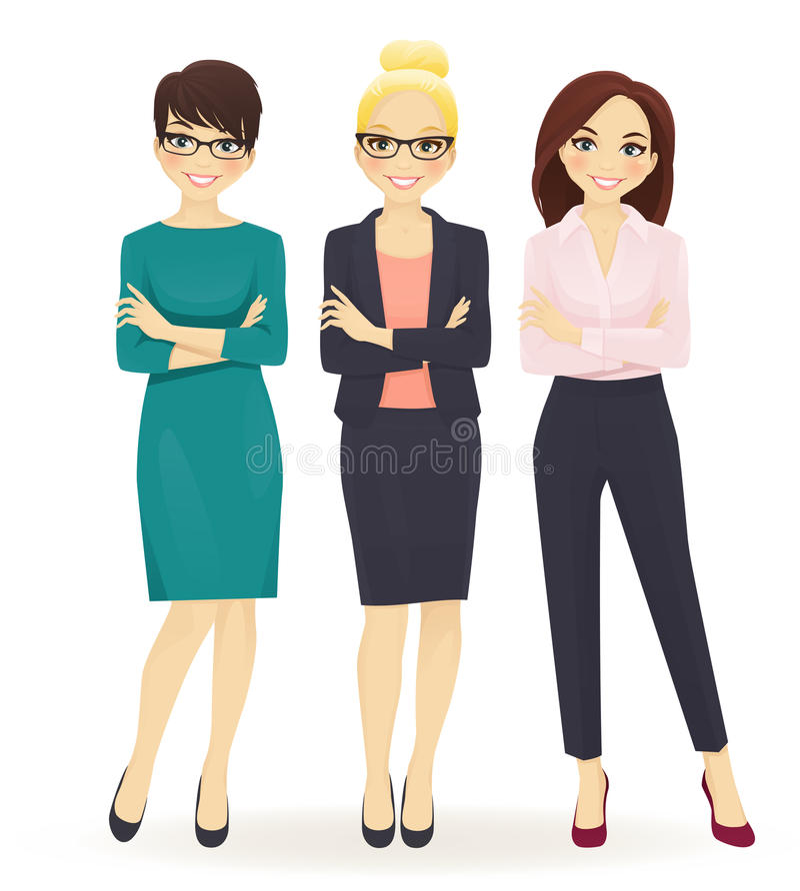 Three elegant business women vector illustration