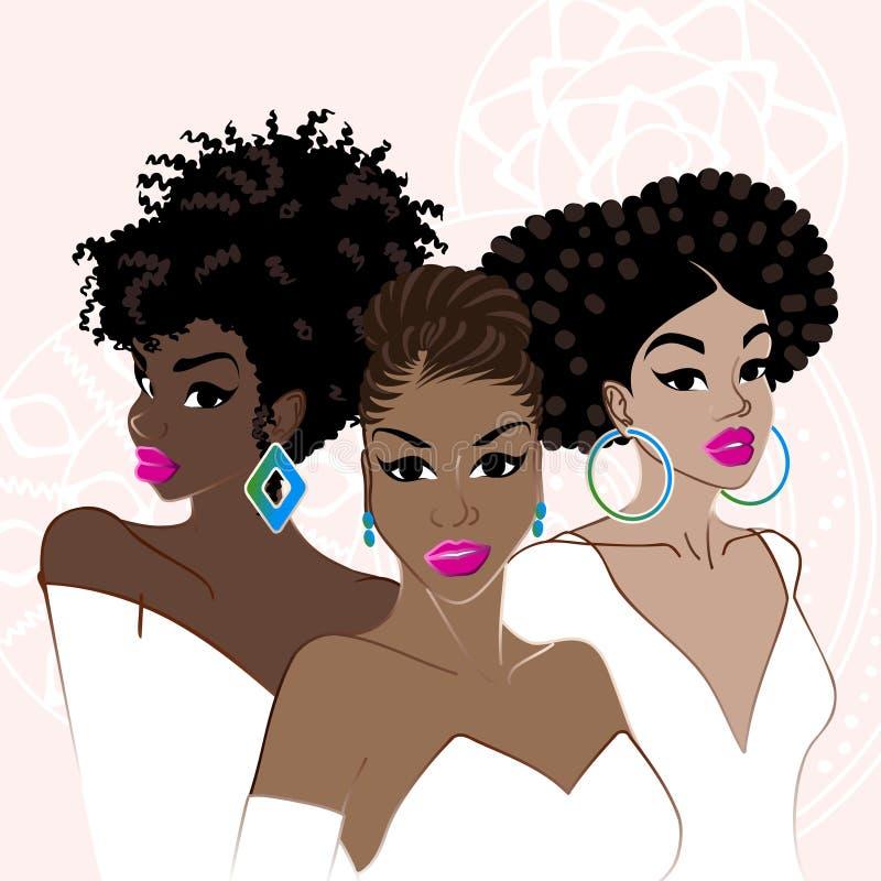 Beauty Fashion Group: Three Elegant Dark-skinned Women Stock Vector